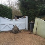 Rory fitting driveway gates we made